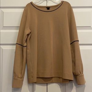 ANN TAYLOR BEIGE SWEATER WITH BLACK STRIPE DETAIL